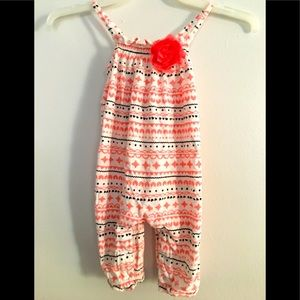 Pink/White one piece flower outfit for baby girls